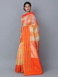 Orange Linen Handwoven Banarasi Saree