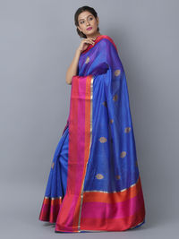 Blue Cotton Silk Handwoven Banarasi Saree