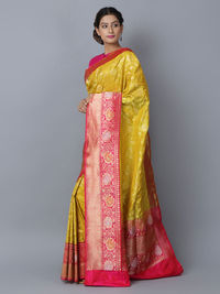 Yellow Pink Silk Handwoven Banarasi Saree