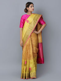 Yellow Pink Tussar Silk Handwoven Banarasi Saree