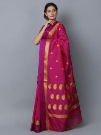 Magenta Cotton Silk Handwoven Banarasi Saree