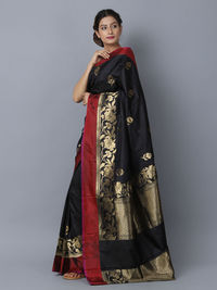 Black Maroon Silk Handwoven Banarasi Saree