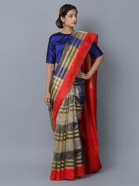 Blue Red Cotton Silk Handwoven Banarasi Saree