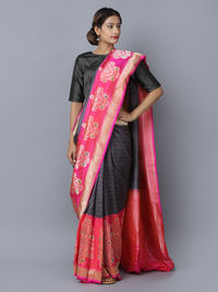 Grey Pink Silk Handwoven Banarasi Saree