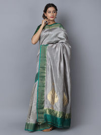 Grey Green Silk Handwoven Banarasi Saree