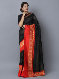Black Red Tussar Silk Handwoven Banarasi Saree