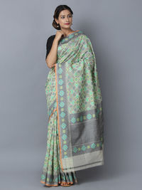 Grey Green Cotton Silk Handwoven Banarasi Saree