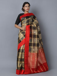 Black Red Cotton Silk Handwoven Banarasi Saree