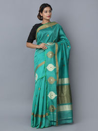 Green Cotton Silk Handwoven Banarasi Saree