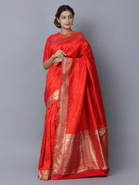 Red Silk Handwoven Banarasi Saree