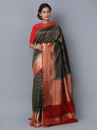 Black Maroon Cotton Silk Handwoven Banarasi Saree