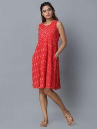 Red Cotton Ikat Dress