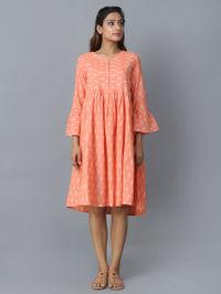 Orange Cotton Ikat Gathered Dress