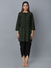 Black Green Cotton Ikat Tunic