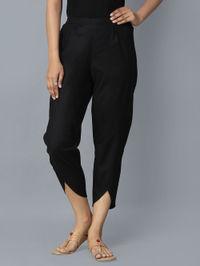 Black Cotton Tulip Pants