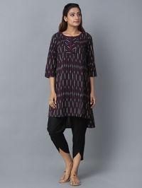 Black Burgundy Cotton Ikat Tunic