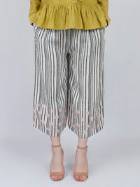 White Black Striped Embroidered Linen Pants
