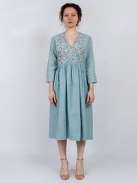 Blue Embroidered Khadi Cotton Dress