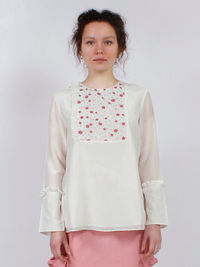 White Red Embroidered Cotton Silk Top