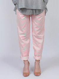 White Red Striped Linen Pants