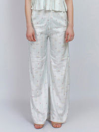 White Printed Striped Modal Twill Pants