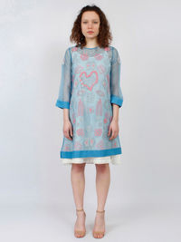 Blue Embroidered Silk Organza Shift Dress