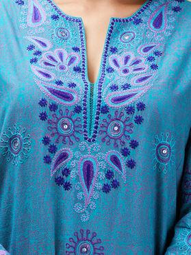 Blue Cotton Embroidered Short Kurta