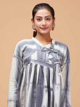 Grey White Cotton Shibori Kediya Top