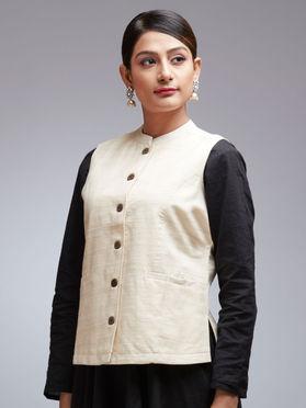 Off White Tussar Cotton Jacket