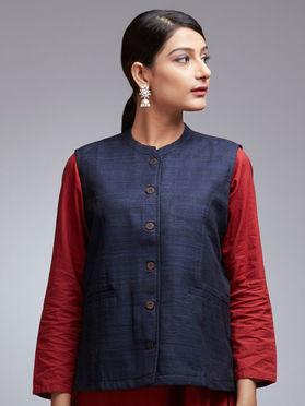 Navy Blue Gheecha Silk Jacket