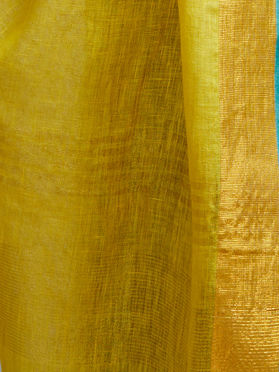 Yellow Linen Zari Dupatta