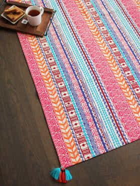 Multi Color Cotton Enarya Dhurrie with Tassels