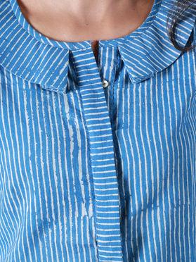 Blue Cotton Hand Block Printed Striped Shirt