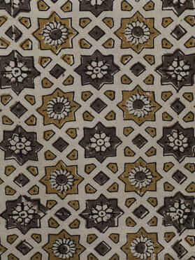 Beige Cotton Hand Block Printed Ajrakh Table Runner