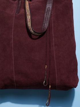 Burgundy Suede Tote Bag