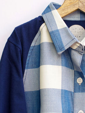 Blue White Cotton Checkered Boys Shirt