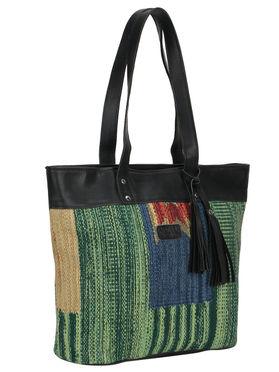 Multi Color Kilim Faux Leather Shopper Bag