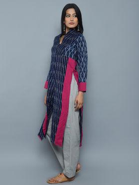 Blue Pink High Slit Ikat Cotton Kurta