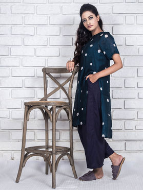 Blue Cotton Silk Straight Kurta