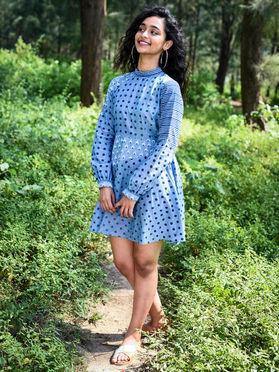 Blue Mangalgiri Cotton Polka Dot Dress