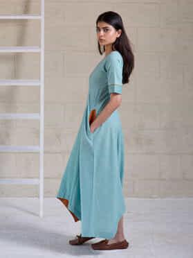 Blue Cotton Asymmetric Dress