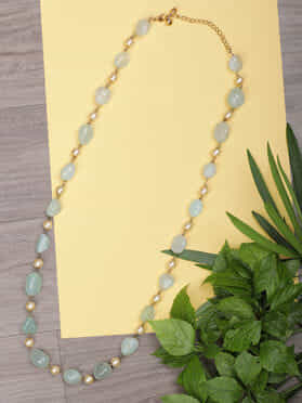 Mint Green Pearls Natural Stones String Necklace