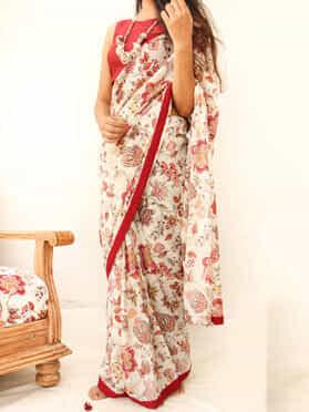 Maroon Beige Cotton Mulmul Printed Saree
