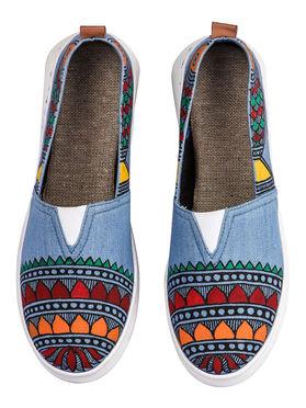 Blue Canvas Madhubani Hand Painted Shoes