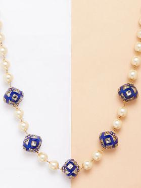 Blue Handpainted Meenakari Pearl Necklace