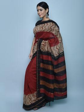 Maroon Black Ivory Bagru Print Chanderi Silk Saree