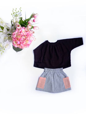 Black Khadi Cotton Top