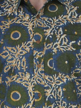 Green Blue Floral Hand Block Printed Cotton Shirt