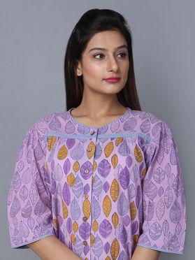 Purple Block Printed Cotton Top