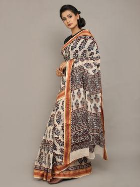 Off White Black Ajrakh Printed Cotton Saree